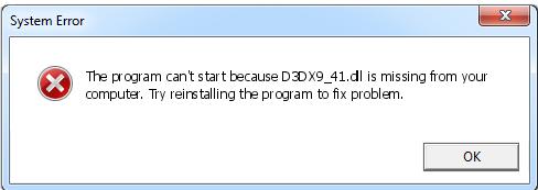 Télécharger D3dx9_41.dll Fichier Gratuit Installer