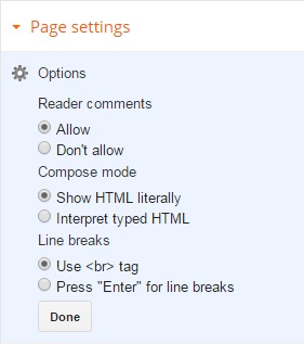 blogger page settings