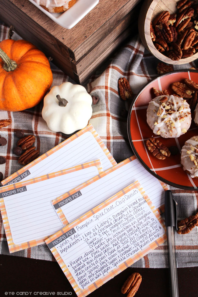 free recipe card download, freebies, plaid recipe cards, donut recipe