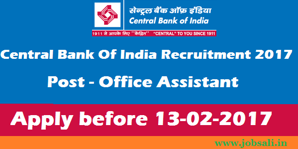 central bank of india career, office assistant RSETI jobs , bank jobs 2017