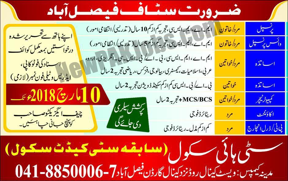 City High School Faisalabad March Jobs 2018