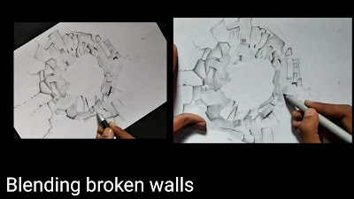 Blending broken walls for smooth texture, how to draw broken walls, step by step tutorial of crack wall drawing, drawing for kids, easy drawing for kids, crack wall