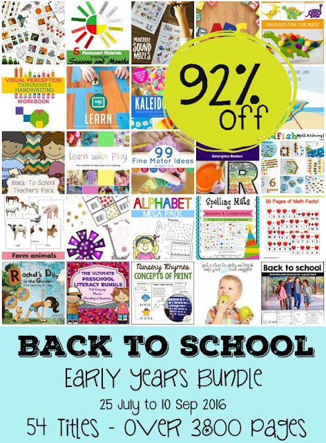 Back to School Bundle - 54 early learning resources for parents, teachers and homeschoolers. Save 92% off the regular price. Includes printable packs and ebooks.