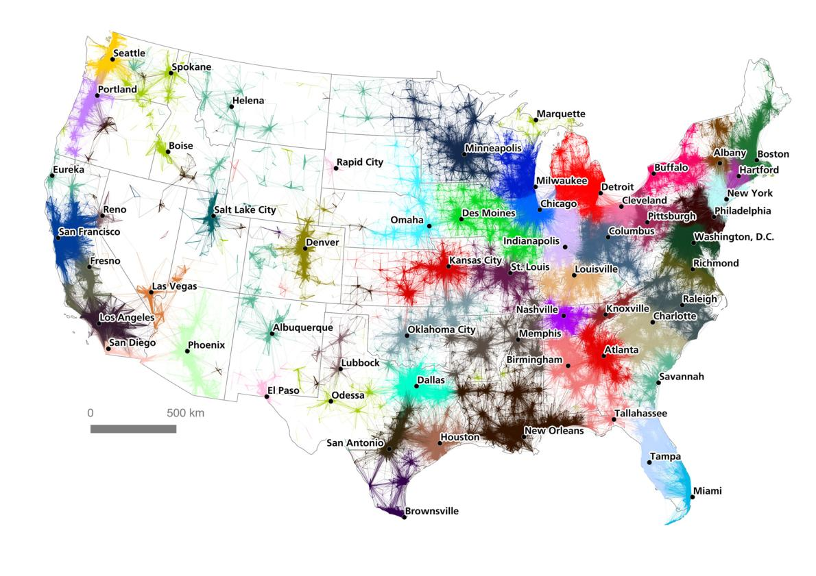 the map shows the 50 megaregions in the u s and the areas that make them up most as you may notice are centered around major cities like chicago