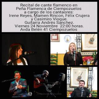 Cartel del Recital de cante flamenco, 24 de noviembre de 2017, a las 10 de la noche en Ciempozuelos Madrid