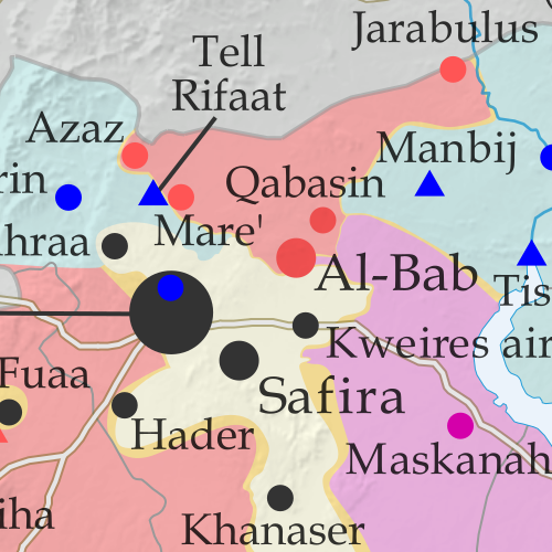 Map of fighting and territorial control in Syria's Civil War (Free Syrian Army rebels, Kurdish YPG, Syrian Democratic Forces (SDF), Jabhat Fateh al-Sham / Hayat Tahrir al-Sham (Al-Nusra Front), Islamic State (ISIS/ISIL), and others), updated to February 24, 2017. Now includes terrain and major roads (highways). Includes recent locations of conflict and territorial control changes, such as Al-Bab, Qabasin, Tasil, Abu Khashab, and more. Colorblind accessible