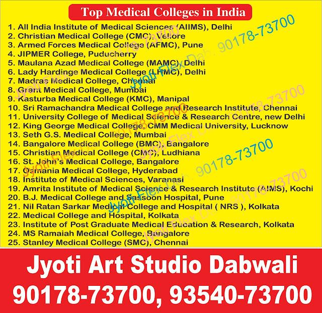 Jyoti Art Studio: Jyoti Flex Gk Top Medical Colleges in India