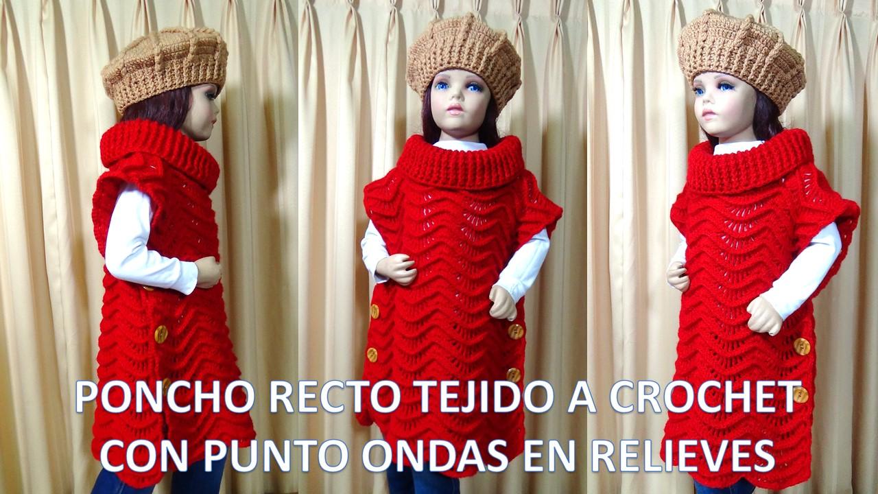 TEJIDOS MILAGROS ENA: Poncho Recto tejido a crochet paso a