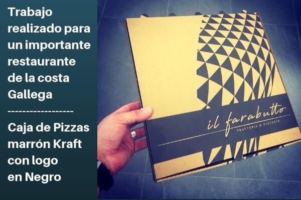 cajas de pizzas en marrón kraft y con logo en negro