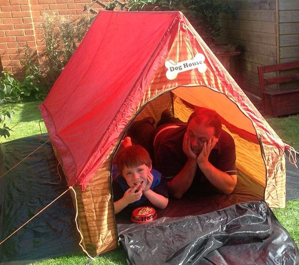 Boy and Dad in Dog House Tent