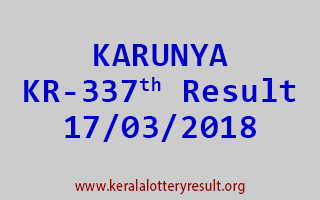 KARUNYA Lottery KR 337 Results 17-03-2018