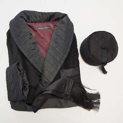 Men's black quilted silk and velvet long dressing gown with warm tasselled smoking hat.