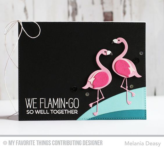 Handmade card from Melania Deasy featuring Laina Lamb Design Tickled Pink stamp set and Flamingos Die-namics, Blueprints 25 Die-namics #mftstamps