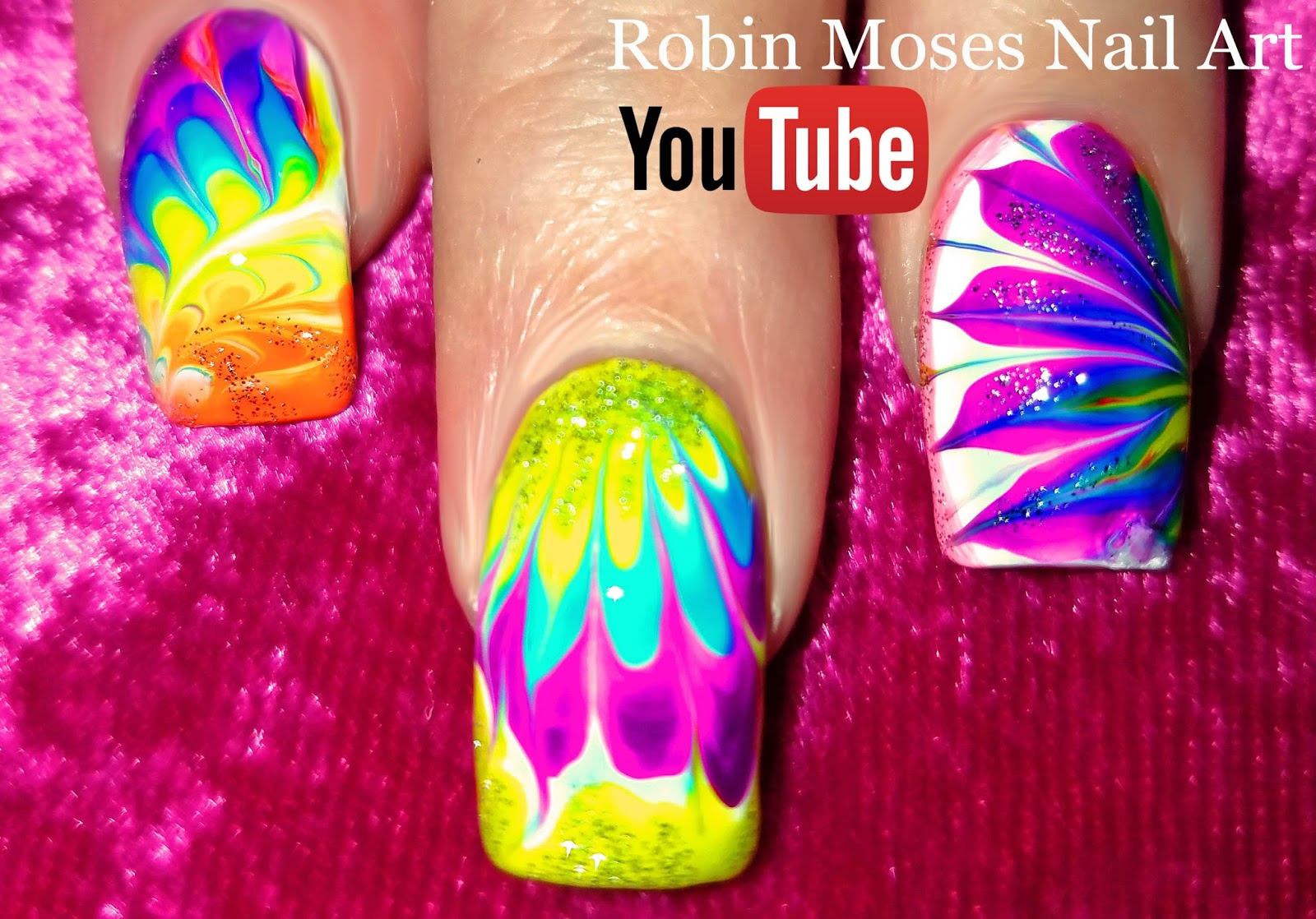 Lavender and Pink No water Dry Drag Marble Nail Art Design Tutorial ...