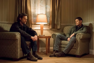 "Jared Padalecki as Sam Winchester and Jensen Ackles as Dean Winchester in Supernatural 14x12 ""Prophet and Loss"""