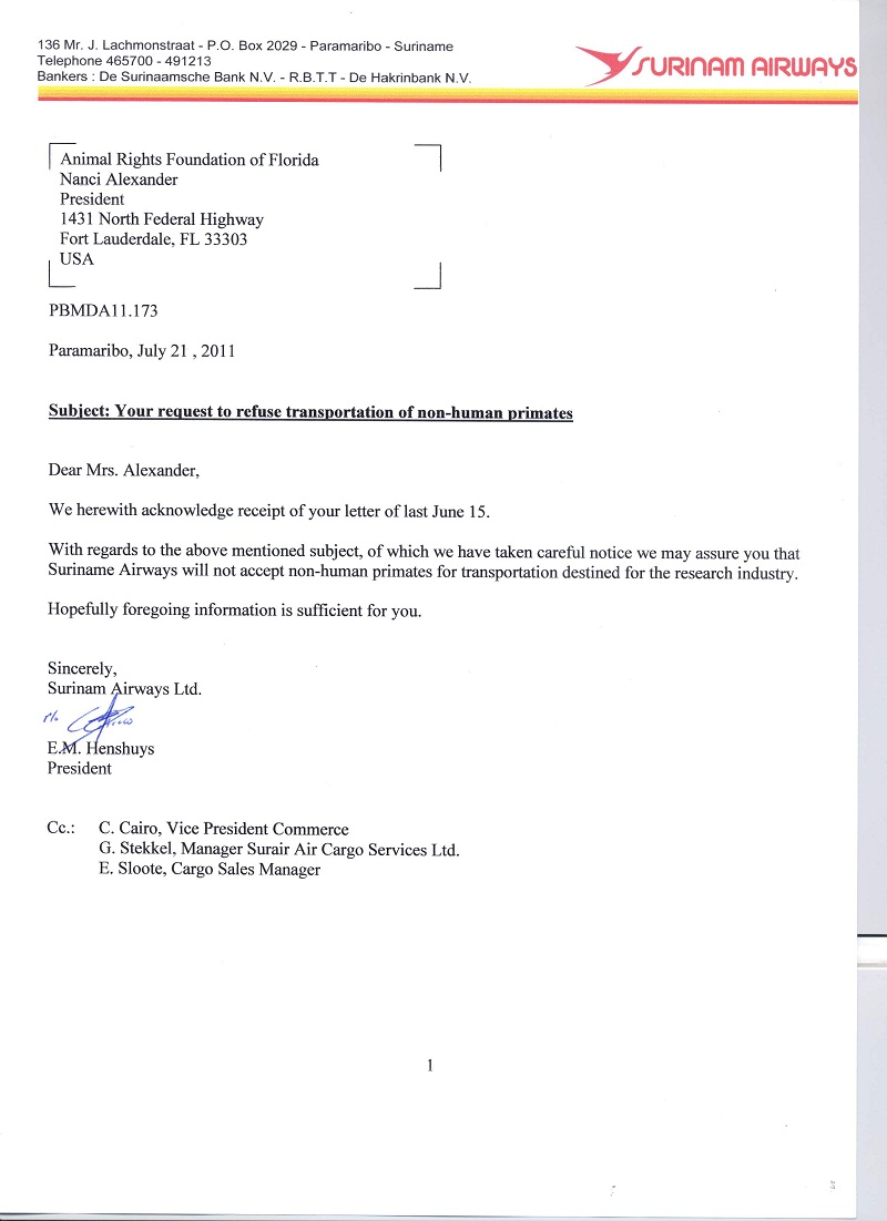 voorbeeldbrief overname bedrijf Suriname Tribune: Levendige handel in export dieren uit Suriname. voorbeeldbrief overname bedrijf