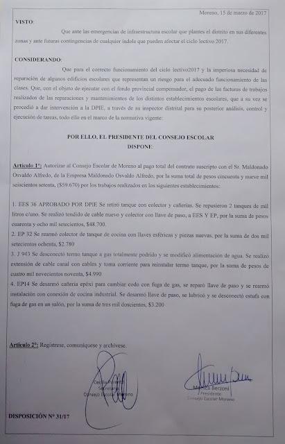 Disposición 31/2017: Autorización de pago de $59.670 al proveedor Maldonado Osvaldo Alfredo, por trabajos realizados en los establecimientos con código: ES36, EP32, JI943, EP14