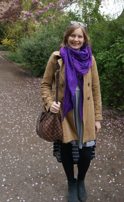 Edinburgh Zoo in May outfit camel trench purple scarf skater dress ankle boots | awayfromblue