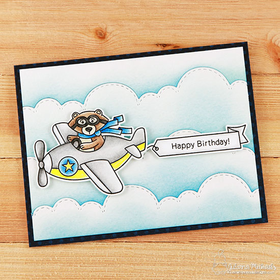 Bear driving Airplane Card by Juliana Michaels | Winston Takes Flight stamp set and Sky Borders die set by Newton's Nook Designs #newtonsnook