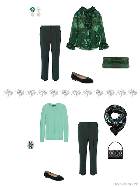 2 ways to wear a pair of green cropped pants