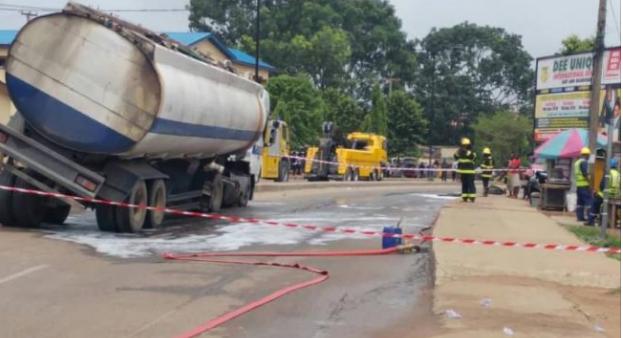 Image result for Tragedy averted at Alapere after tanker spills fuel