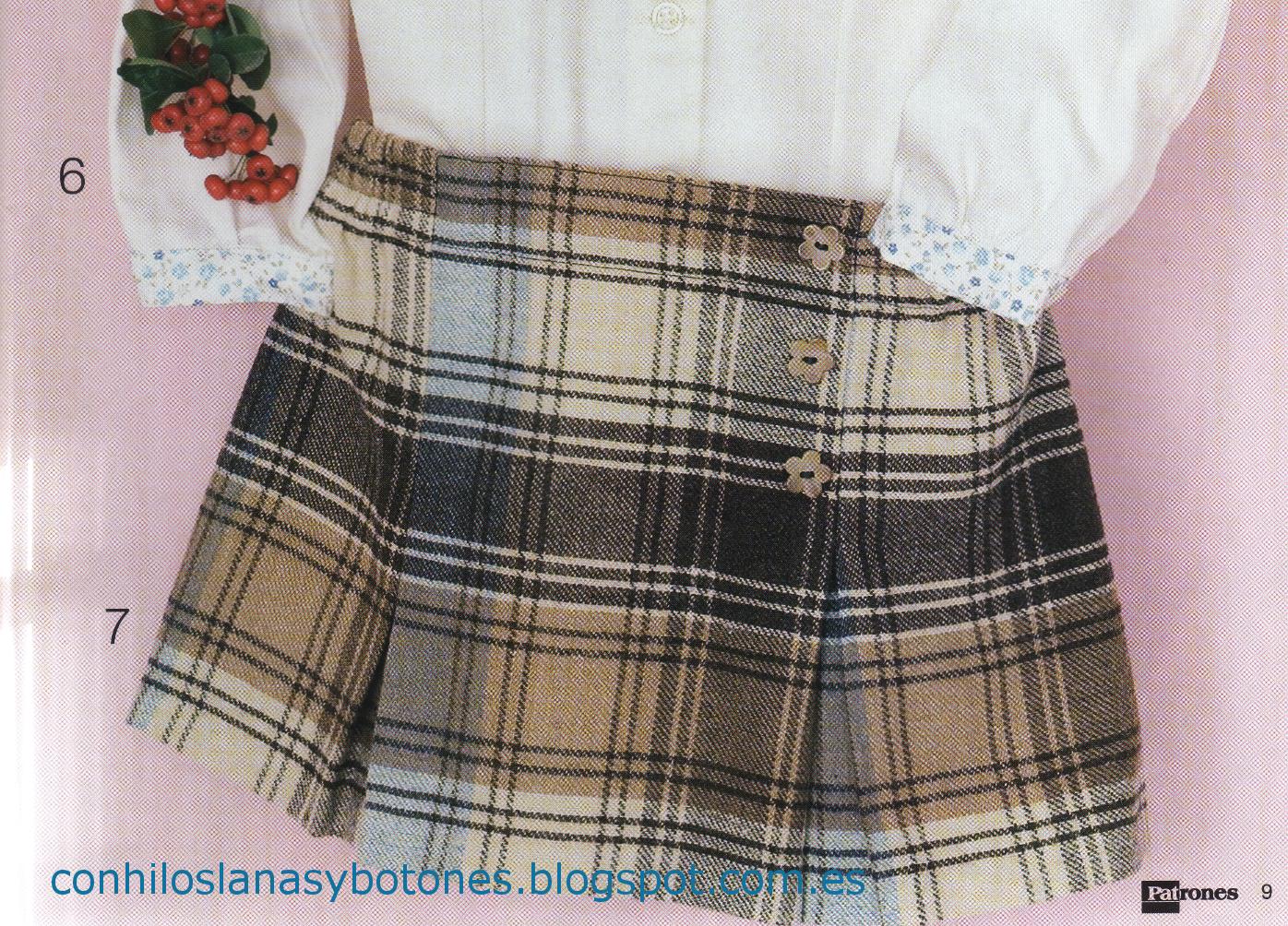 Con hilos, lanas y botones: falda de cuadros para niña