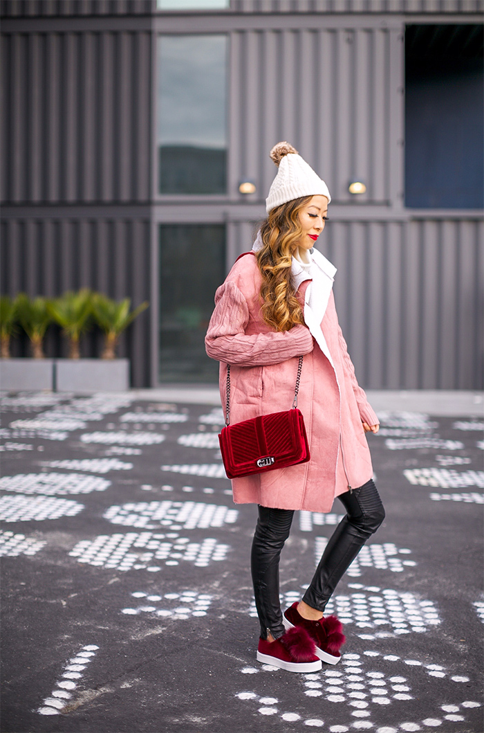 faux shearling coat, rebecca minkoff velvet crossbody bag, j crew pom pom beanie, blank denim moto pants, sam edelman Leya Faux Fur Laceless Sneaker, baublebar  crispin drop earrings, winter outfit ideas, cute winter outfit, san francisco street style, san francisco fashion blog