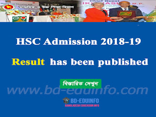 HSC 2018-19 Admission Result Has Been Published