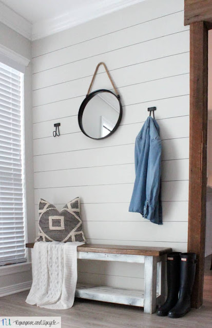 Entryway makeover with faux shiplap. No power tools needed!