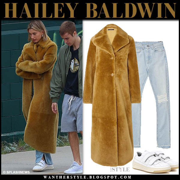 Hailey Baldwin in mustard shearling long ellery coat and acne sneakers winter street style january 5
