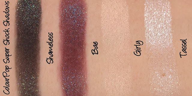 ColourPop Super Shock Shadows - Shameless, Bae, Girly, Tassel Swatches & Review