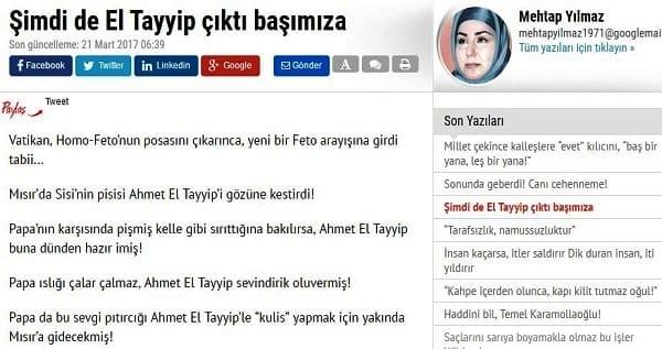 """كاتبة تركية تصف شيخ الأزهر أحمد الطيب بـ""""القطة المدللة"""""""