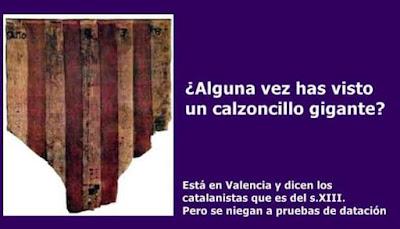Calsonsillos gigáns, del siglo XIII segons los catalanistes, cuatribarrada, bandera, senyera, señal real,Aragón, Valencia, Catalunya