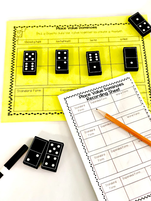 dominoes place value math center