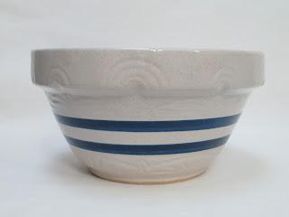 Large Double Blue Ringed Mixing Bowl