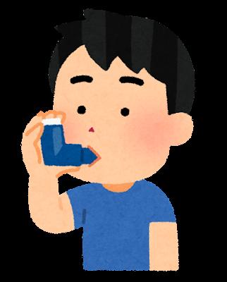 吸入器を使う男の子のイラスト