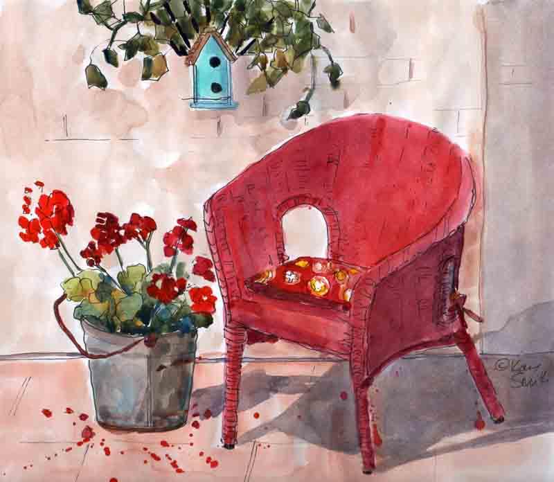 kaysmithbrushworks red patio chair and geraniums plein air