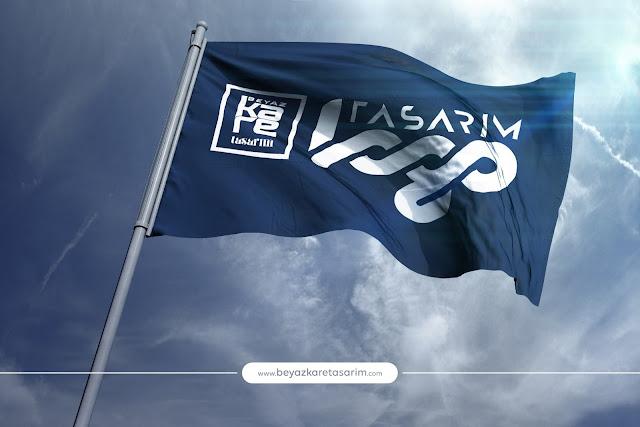 3D logo tasarımı dalgalanan bayrak