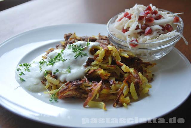Schnelles Mittagessen mit Rind, Kartoffeln und Kohl