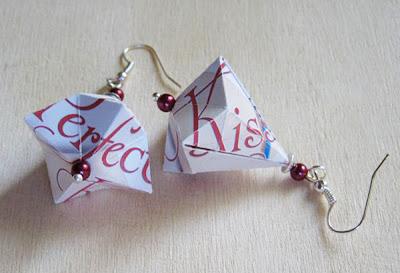 pair of pink and white german bell earrings