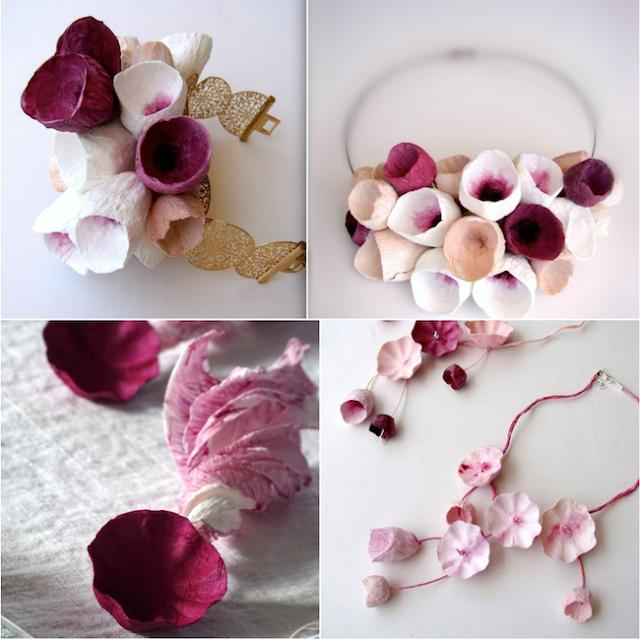 Matrimonio Eco chic 2018. Collana con fiori di carta e bouquet da polso , tendenze colori