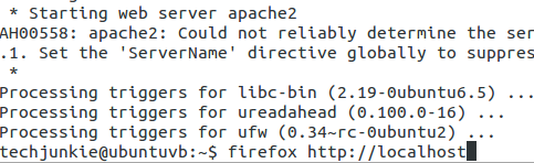 type firefox http://localhost to browse to the apache home page