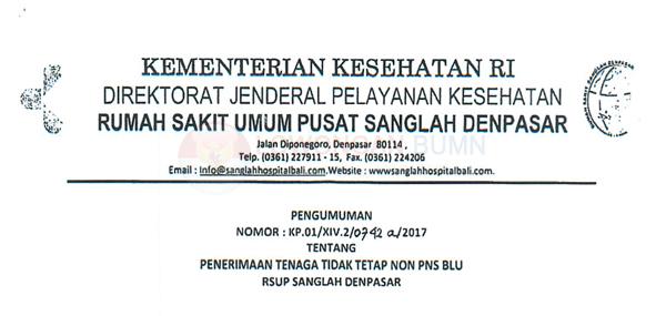 Rekrutmen Pegawai BLU RSUP Sanglah Denpasar