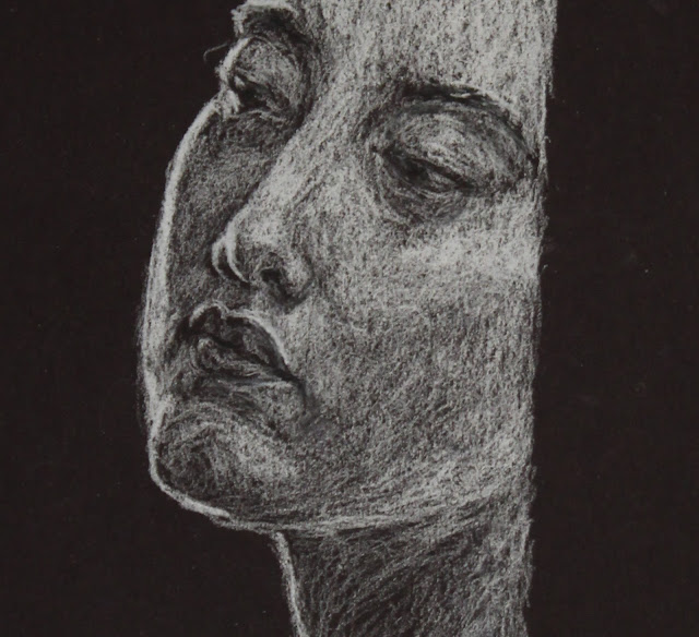 face, head, sarah, myers, art, arte, drawing, sketch, dibujo, dessin, kunst, conte, charcoal, white, black, paper, dark, woman, doorway, expression, mouth, eyes, nose, bright, highlights, shading, glow, technique, pencil, artist, lines, design, figurative, contemporary, modern, close-up, detail