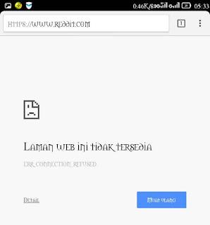cara buka reddit yang diblokir di android