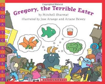 Gregory The Terribly Eater, part of children's book review list about picky eaters
