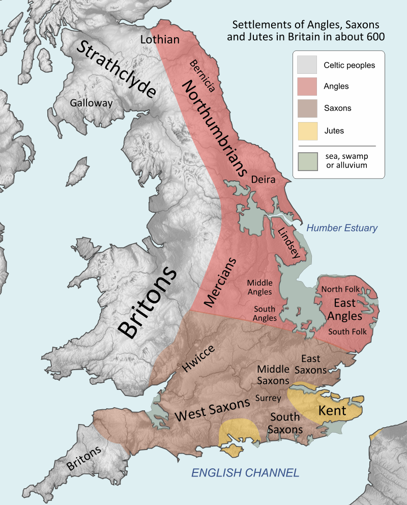 Settlements of British Peoples in the 7th century