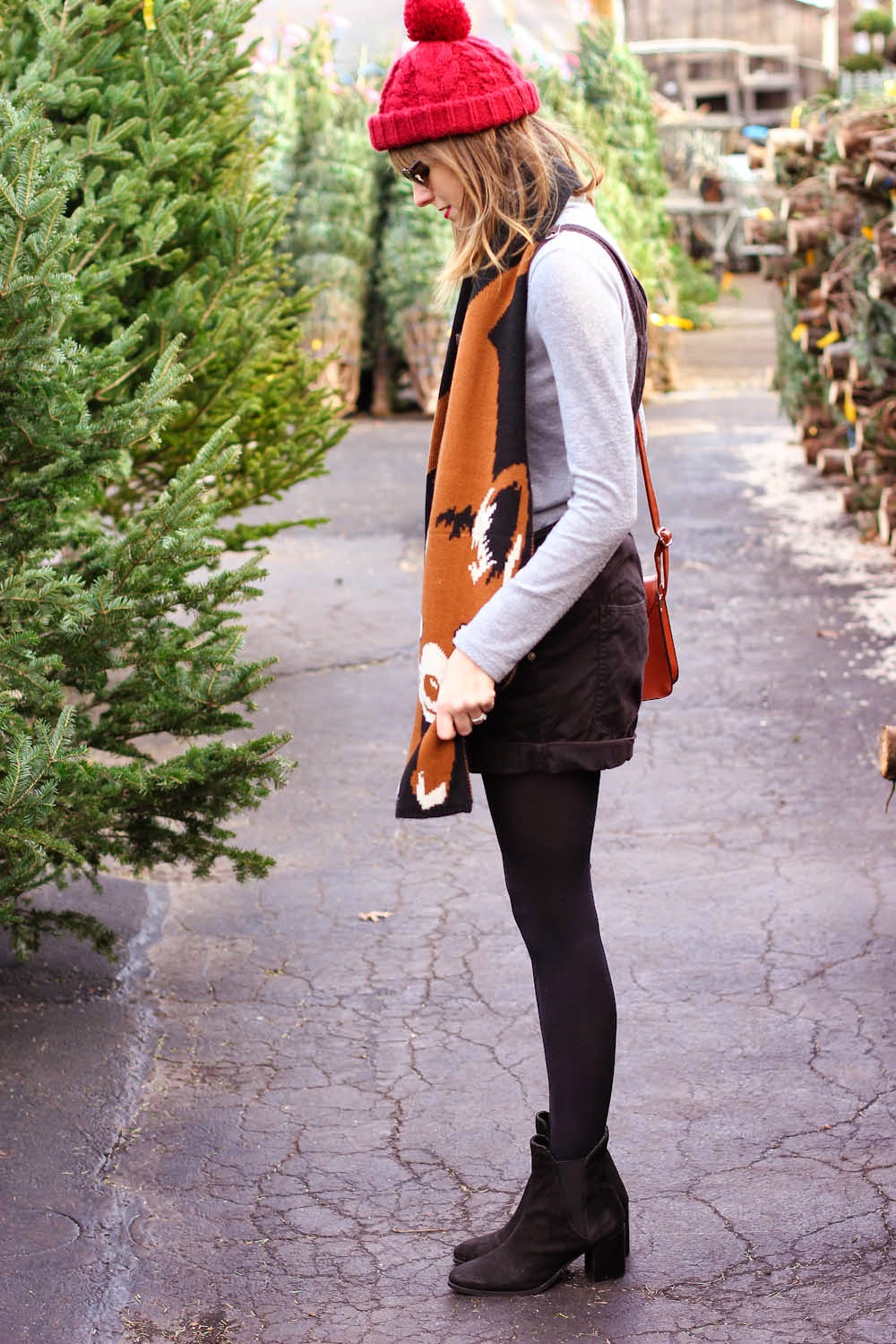 forever21 grey turtleneck, black vintage overalls, christmas tree shopping outfit, vintage fashion blog, nyc vintage blog