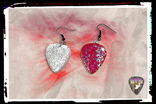 Silver & Ruby Guitar Pick Earrings