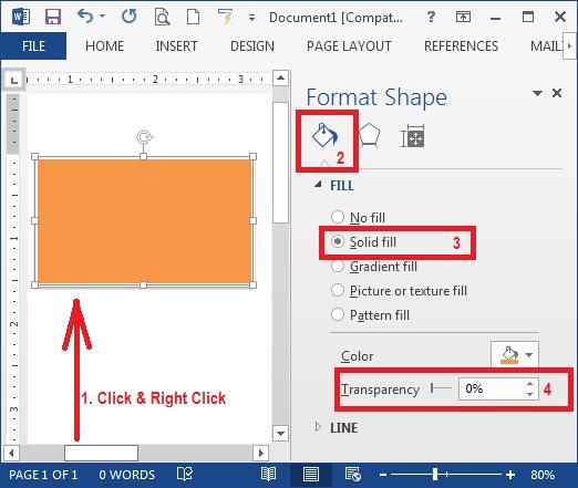 Cara Membuat Gambar Shape Picture Menjadi Transparan Di Microsoft Word 2013 2016